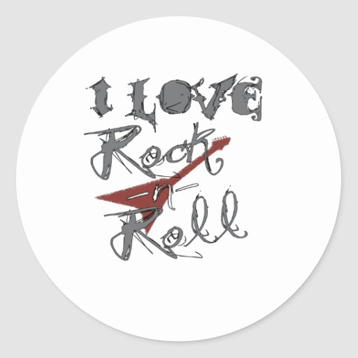 I love Rock and Roll Round Stickers