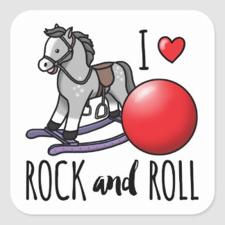 I Love Rock and Roll Square Sticker