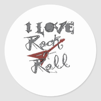 I love Rock and Roll Classic Round Sticker