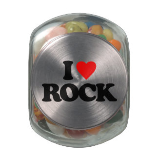 I LOVE ROCK GLASS CANDY JAR