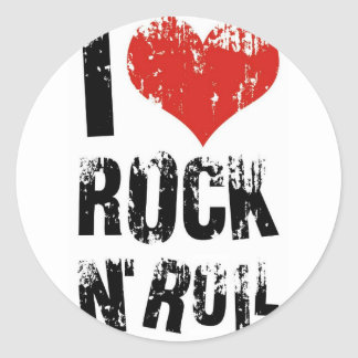 I love Rock in Roll Classic Round Sticker