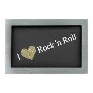 I love rock rectangular belt buckle