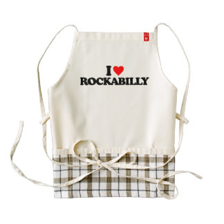 I LOVE ROCKABILLY ZAZZLE HEART APRON