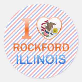 I Love Rockford, IL Round Sticker