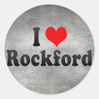 I Love Rockford, United States Round Stickers