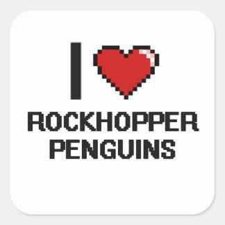 I love Rockhopper Penguins Digital Design Square Sticker