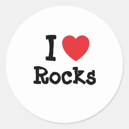 I love Rocks heart custom personalized Classic Round Sticker