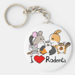 I love rodents cute cartoon basic round button keychain