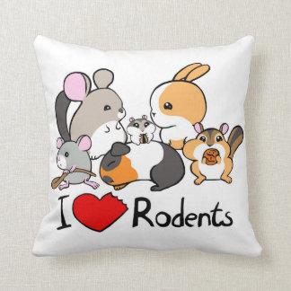 I love rodents cute cartoon throw pillow