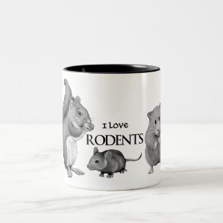 I Love Rodents: Squirrel, Mouse, Hamster: Pencil Two-Tone Coffee Mug
