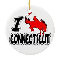 I Love Rodeo Connecticut Ceramic Ornament