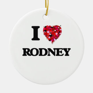I Love Rodney Double-Sided Ceramic Round Christmas Ornament