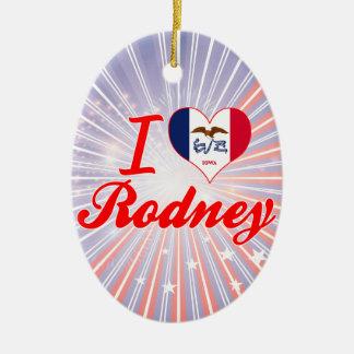 I Love Rodney, Iowa Double-Sided Oval Ceramic Christmas Ornament