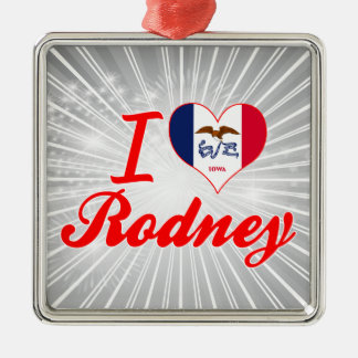 I Love Rodney, Iowa Square Metal Christmas Ornament