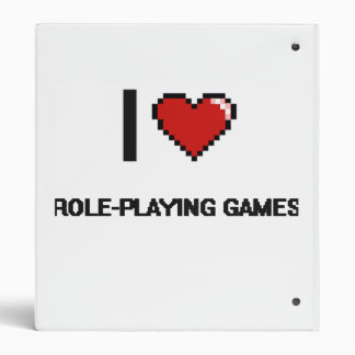 I Love Role-Playing Games Digital Retro Design 3 Ring Binder
