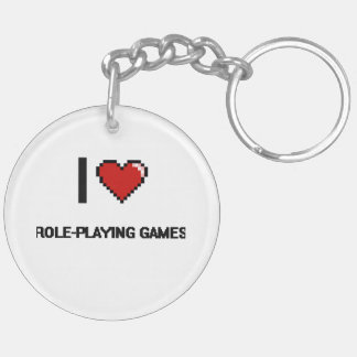 I Love Role-Playing Games Digital Retro Design Double-Sided Round Acrylic Keychain