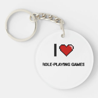 I Love Role-Playing Games Digital Retro Design Single-Sided Round Acrylic Keychain