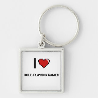 I Love Role-Playing Games Digital Retro Design Silver-Colored Square Keychain