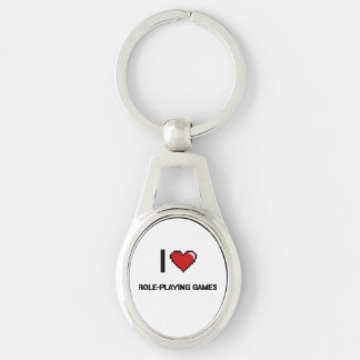 I Love Role-Playing Games Digital Retro Design Silver-Colored Oval Keychain