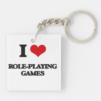 I Love Role-Playing Games Square Acrylic Key Chains