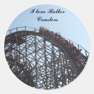 I love Roller Coasters stciker Round Sticker