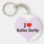 I love Roller Derby Basic Round Button Keychain