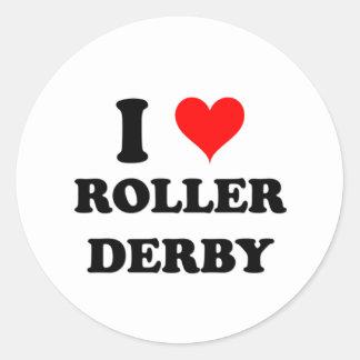 I Love Roller Derby Round Sticker
