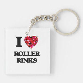 I love Roller Rinks Double-Sided Square Acrylic Keychain