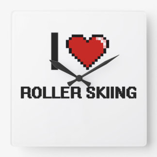 I Love Roller Skiing Digital Retro Design Square Wallclocks