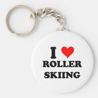 I Love Roller Skiing Keychain