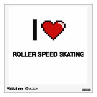I Love Roller Speed Skating Digital Retro Design Room Graphic