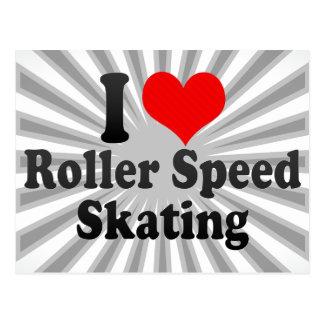 I love Roller Speed Skating Postcard