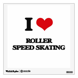 I Love Roller Speed Skating Wall Skins