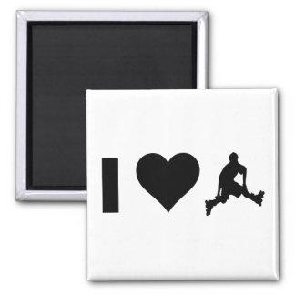 I Love Rollerblading 2 Inch Square Magnet