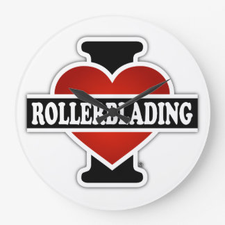 I Love Rollerblading Large Clock