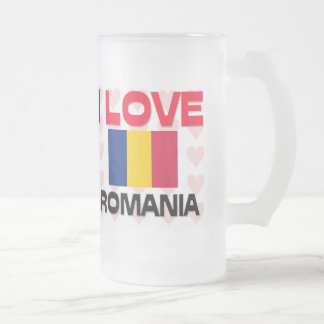 I Love Romania Frosted Glass Beer Mug