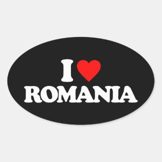 I LOVE ROMANIA OVAL STICKER