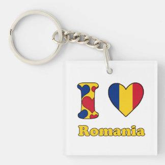 I love Romania Single-Sided Square Acrylic Keychain