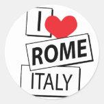 I Love Rome Italy Round Stickers