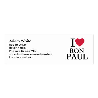 I love Ron Paul Double-Sided Mini Business Cards (Pack Of 20)