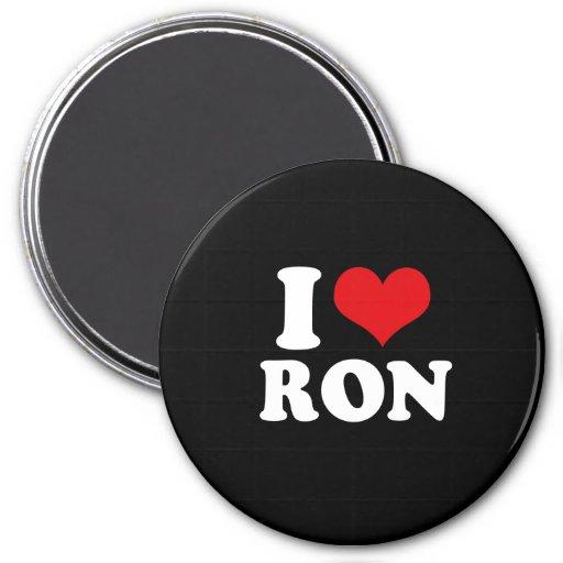 I LOVE RON (white) Fridge Magnets