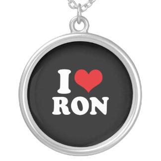 I LOVE RON (white) Round Pendant Necklace