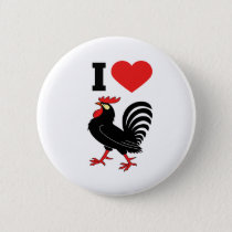 I Love rooster Pinback Button