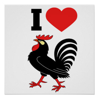 I Love rooster Poster