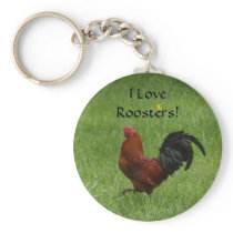I Love Roosters! - keychain