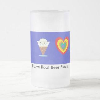 I Love Root Beer Floats 16 Oz Frosted Glass Beer Mug