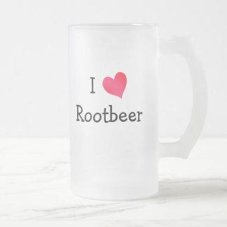 I Love Rootbeer 16 Oz Frosted Glass Beer Mug