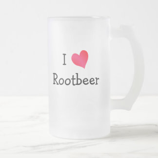 I Love Rootbeer Frosted Glass Beer Mug
