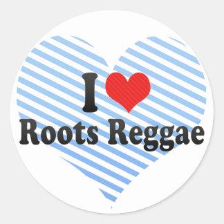 I Love Roots Reggae Round Stickers