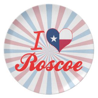 I Love Roscoe, Texas Party Plate
